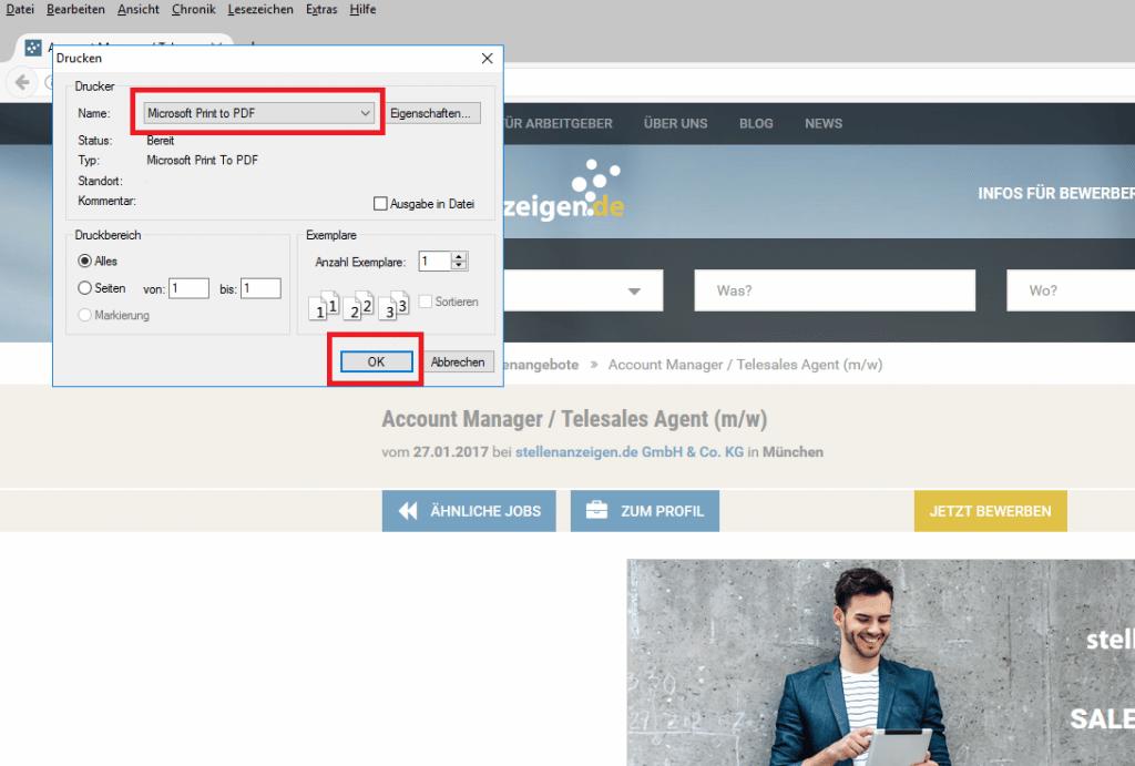 Stellenanzeige als PDF-Datei abspeichern