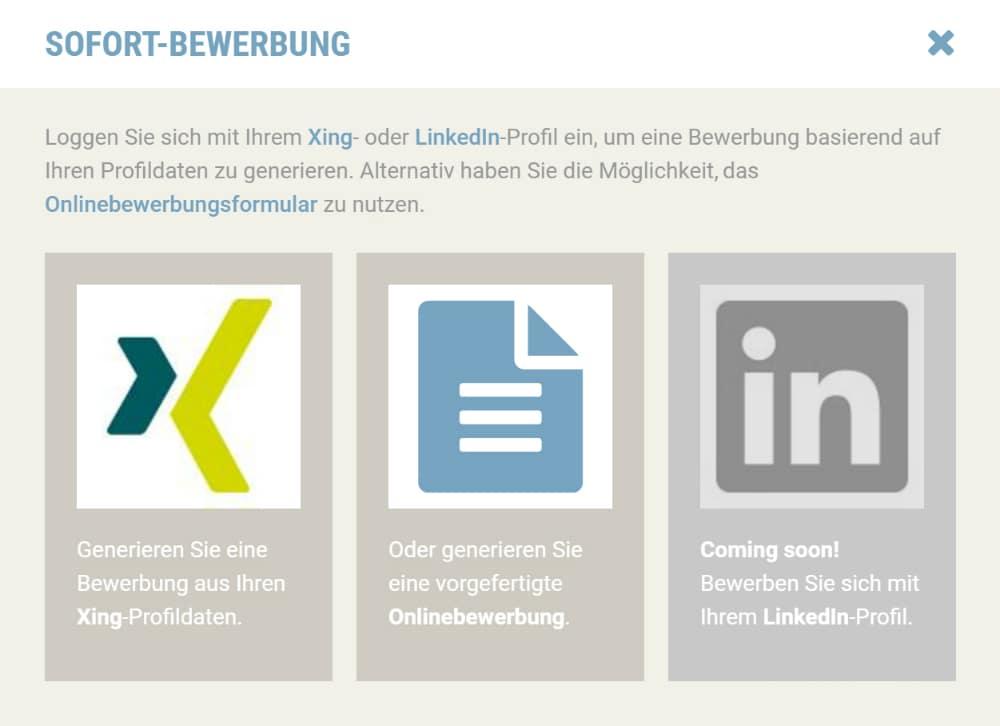Sofort-Bewerbung auf stellenanzeigen.de