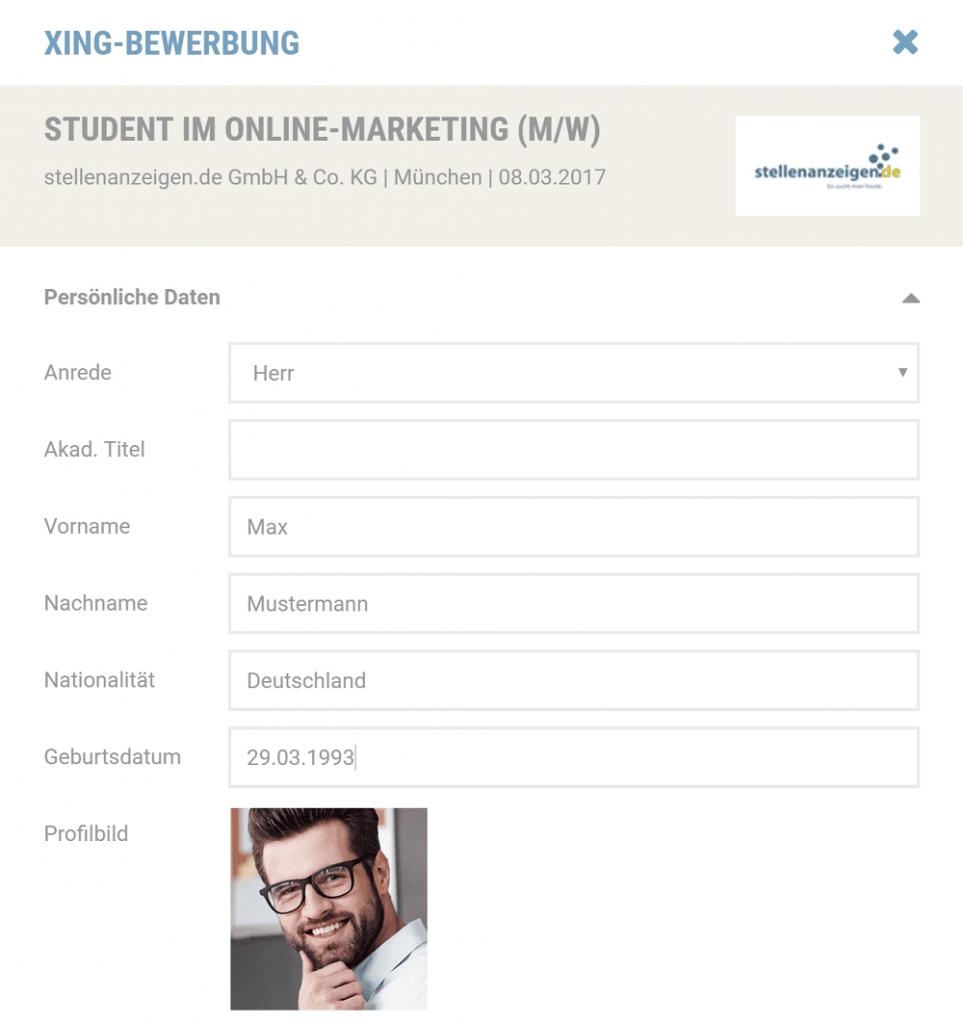 Sofort-Bewerbung mit Xing-Profildaten: Daten vervollständigen