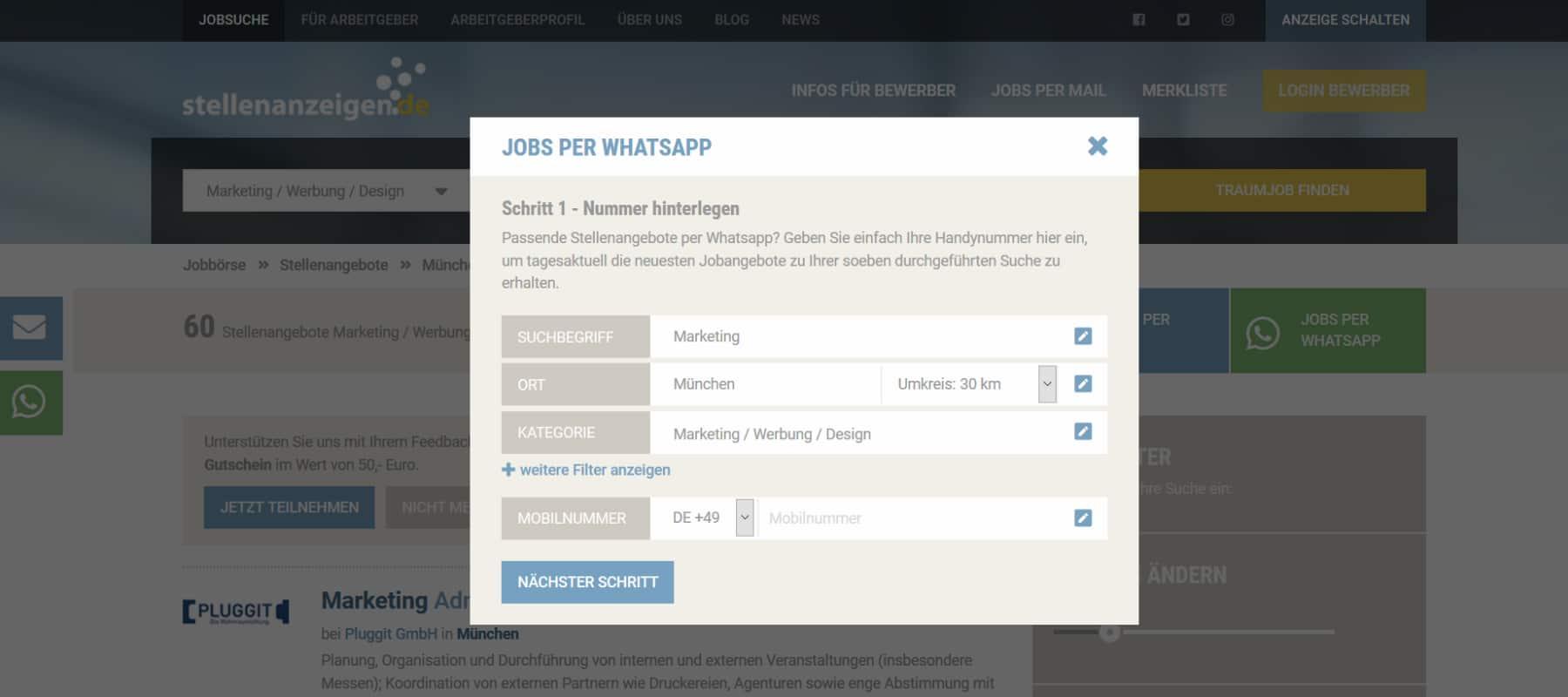 Jobs per WhatsApp von stellenanzeigen.de: Telefonnummer hinterlegen