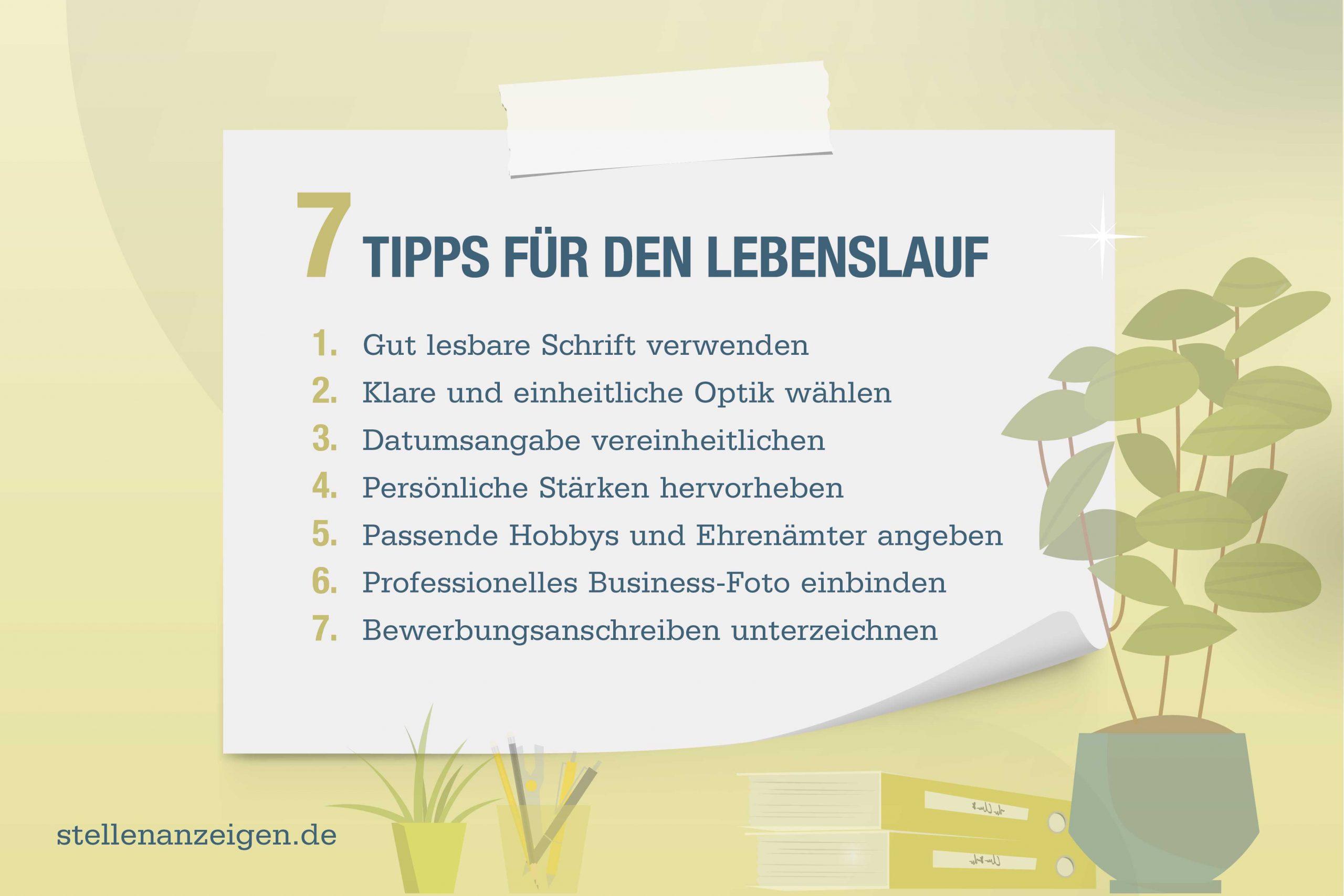 7 Tipps für den perfekten Lebenslauf - Vorlage