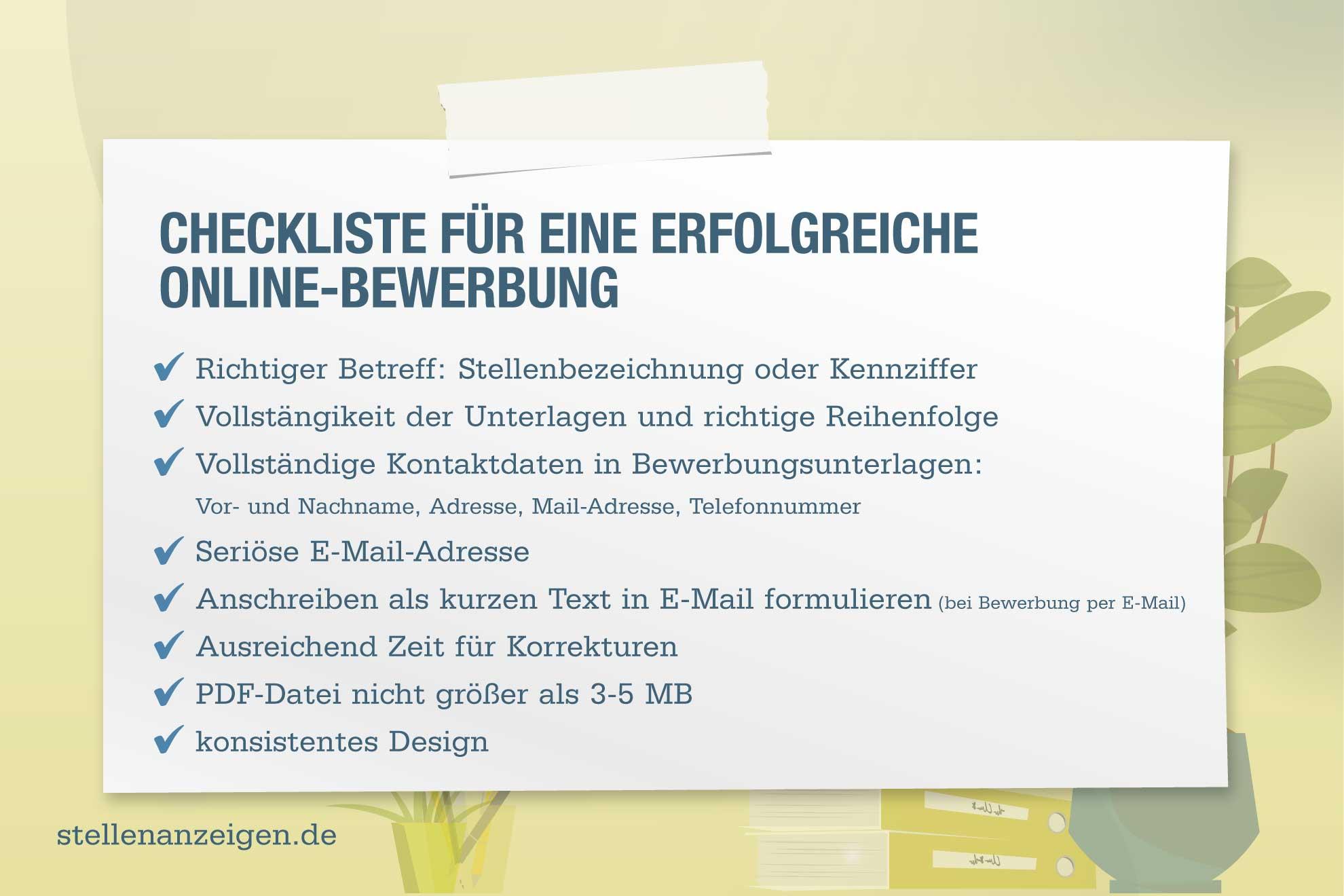 Checkliste Online Bewerbung