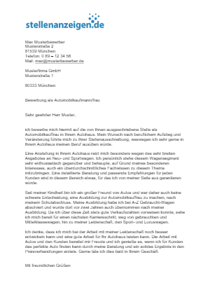 Bewerbungsvorlage Automobilkaufmann/frau