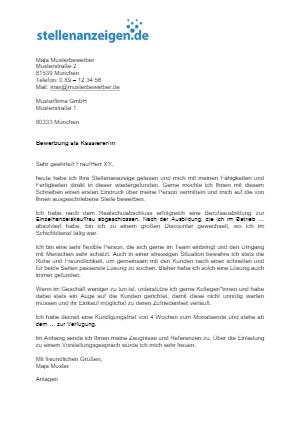 Bewerbungsvorlage Kassierer/in