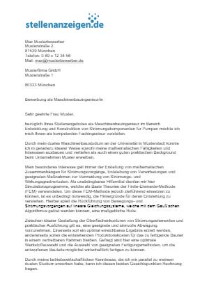 Bewerbungsvorlage Maschinenbauingenieur/in