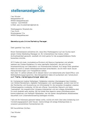Bewerbungsvorlage Online Marketing Manager/in
