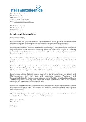 Bewerbungsvorlage Hausmeister/in